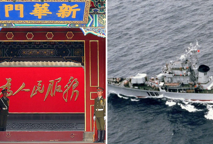 A warship sailing in the South China Sea and a photo of three soldiers standing guard in front of a Chinese traditional building