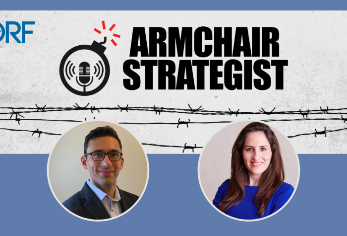 Logo of the Observer Research Foundation's 'Armchair Strategist' podcast with portraits of Oriana Skylar Mastro and Arzan Tarapore