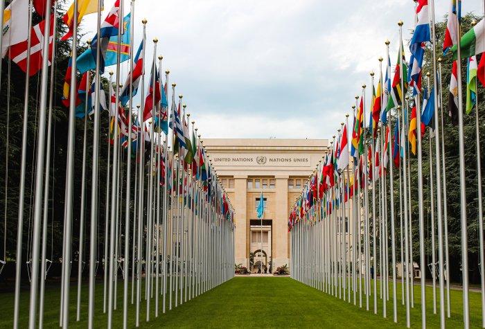 Photograph of the UN building in Geneva, Switzerland