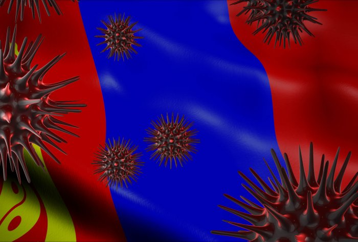 A coronavirus spinning with Mongolia flag behind
