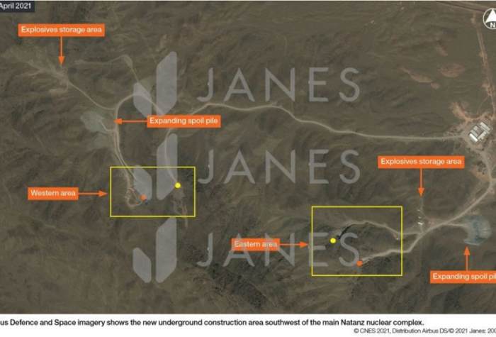 Airbus Defence and Space Imagery shows the new underground construction area southwest of the main Natanz nuclear complex.