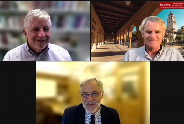 Barry Naughton, Scott Rozelle, and Matt Marostica speak on Zoom during the 2021 Dr. Sam-Chung Hsieh Memorial Lecture.