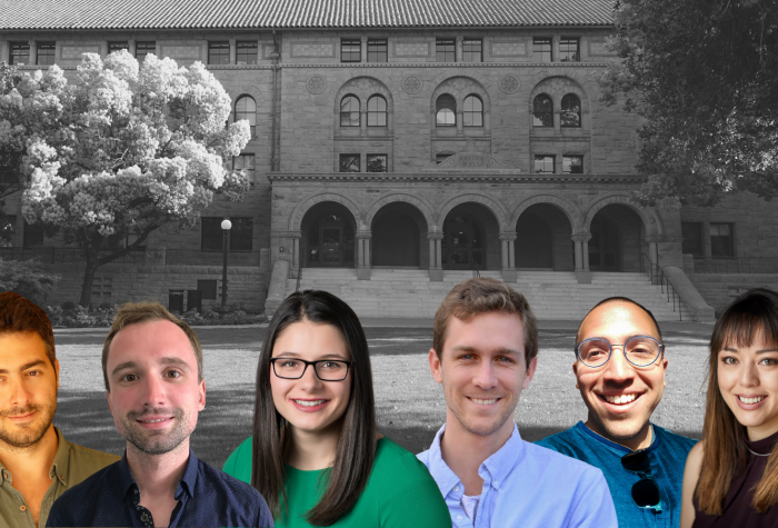 CDDRL Pre and Postdocs over black and white background of Encina Hall