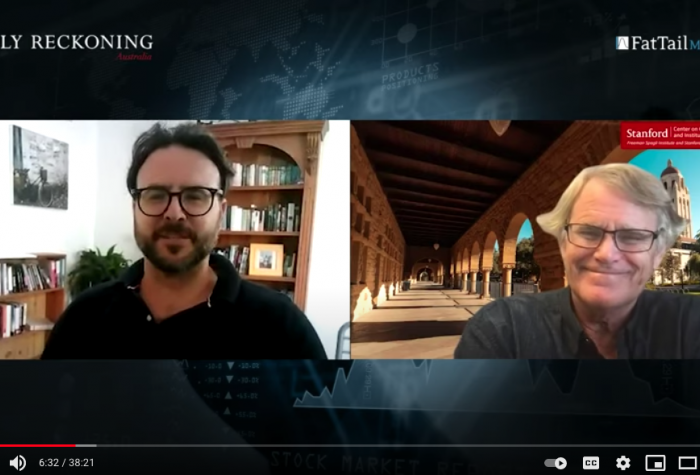Callum Newman and Scott Rozelle on video during the interview on China's invisible crisis on March 10, 2021.