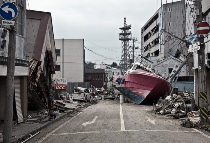 Damage from the earthquake and tsunami.