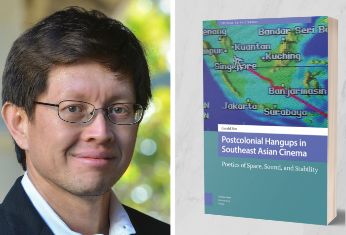 [Left] Gerald Sim, [Right] the cover of 'Postcolonial Hangups in Southeast Asian Cinema'