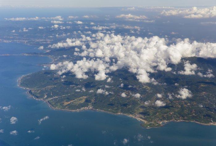 Taiwan island seen from mid-air.