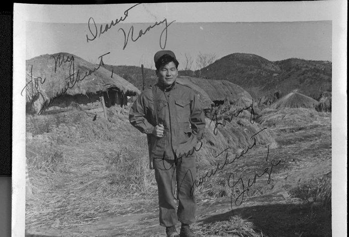 George Mukai in Munsan, a town south of the Imjin River near Panmunjom, during the Korean War, 1951