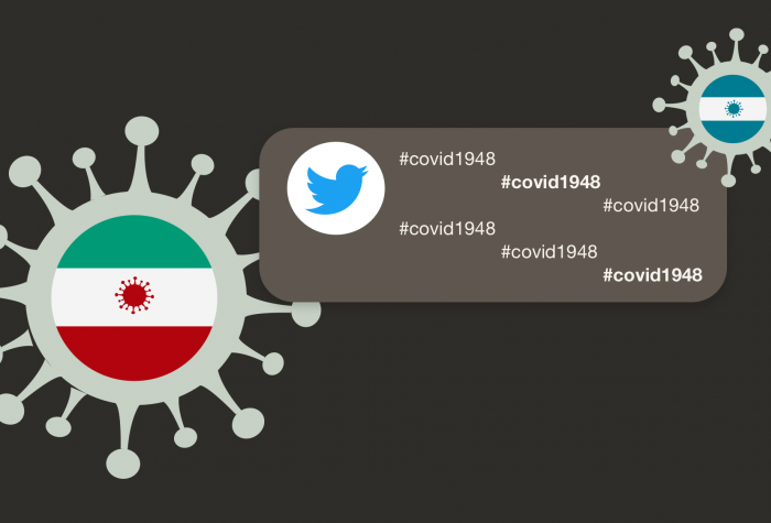 graphic with corona viruses, stylized flags of Iran and Israel, and the hastag covid1948