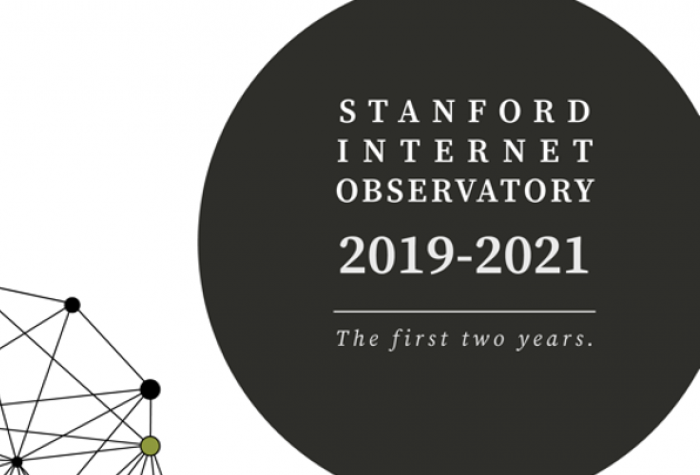"""headliner graphic with a graphic illustration of nodes and connecters and the text """"stanford internet observatory 2019-2021 the first two years."""""""