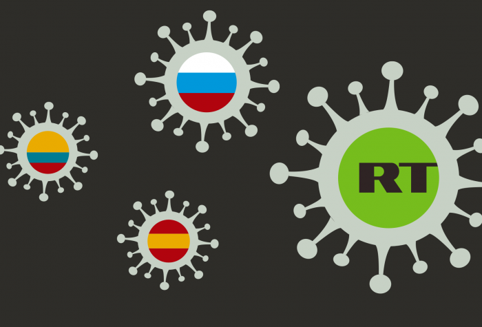 virality project graphic with RT logo and flags