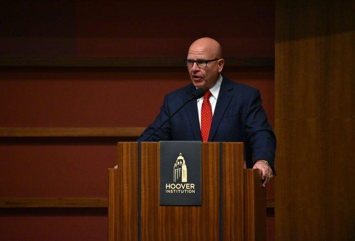 Gen H.R. McMaster at podium, delivering speech