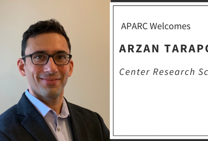 "Portrait of Arzan Tarapore next to text ""APARC Welcomes Arzan Tarapore, Center Research Scholar"""