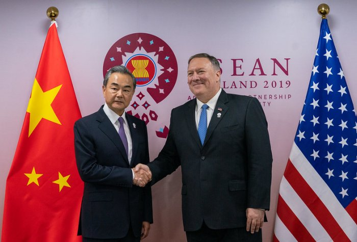 U.S. Secretary of State Michael R. Pompeo meets with Chinese State Councilor and Foreign Minister Wang Yi in Bangkok, Thailand, on August 1, 2019.