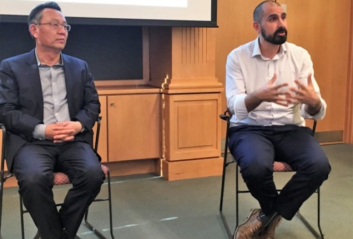 Gi-wook Shin, director of the Korea program at Stanford's Shorenstein APARC, and Andray Abrahamian, visiting scholar who has taught North Koreans about capitalism, at Carleton College in Northfield, Minn., last week.