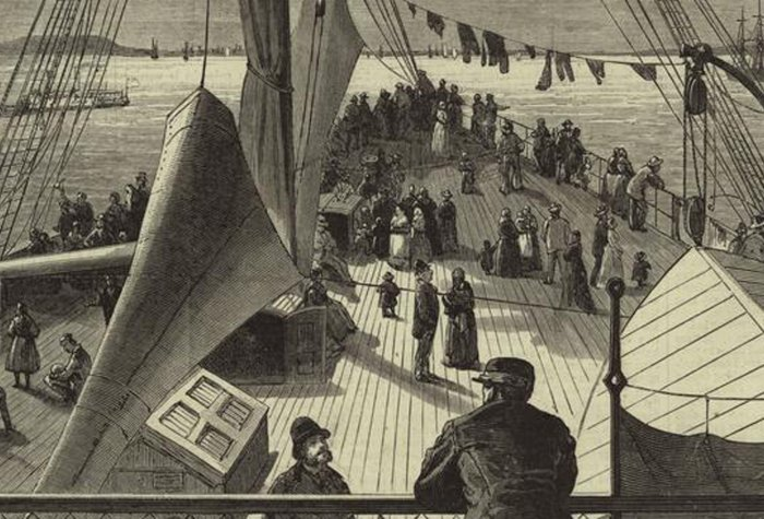 "Image of ""First sight of New York Bay -- arrival of a European steamer"" by James Wells Champney"