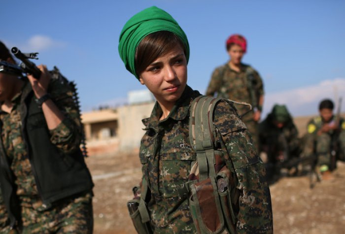 Female Kurdish Soldier in Syria