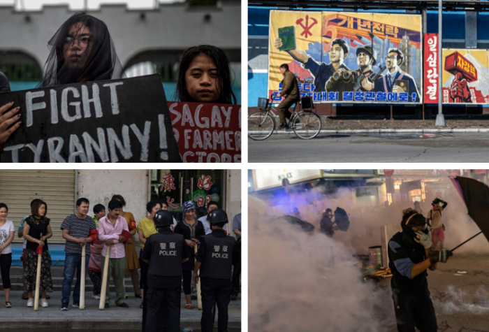Relatives of alleged extrajudicial killings protest against the drug war in Manila; workers pass propaganda posters in North Korea; pro-democracy protesters in Hong Kong; ethnic Uyghur and Han shopkeepers are trained in security measures next to Kashgar.