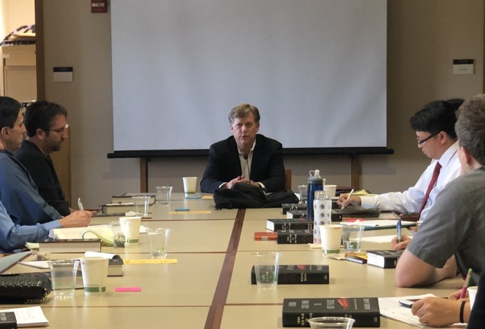 Michael McFaul speaks with teachers at an EPIC workshop, January 2019.
