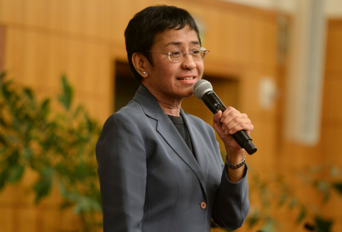 Maria Ressa speaking at Stanford