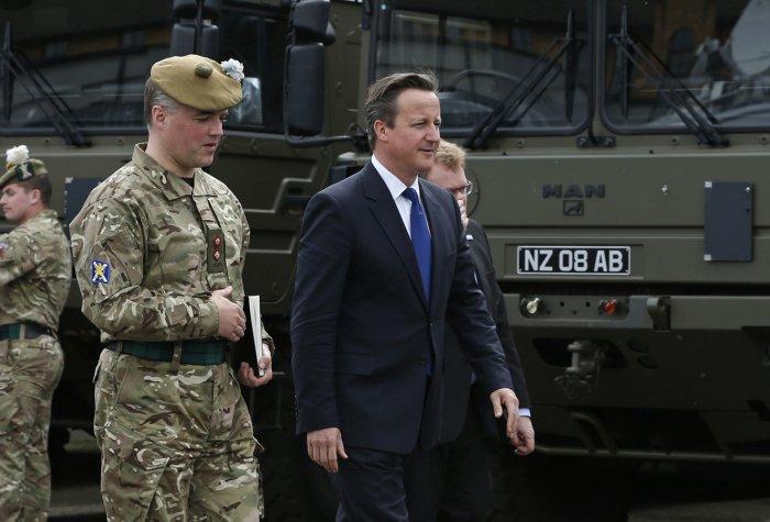 Britain's Prime Minister tours the Walcheren Barracks in Glasgow, Scotland