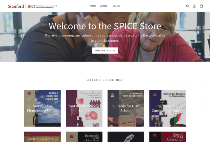 Homepage of the new SPICE Store, spicestore.stanford.edu