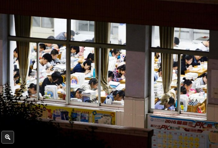High school seniors studying in preparation for the gaokao, the university entrance exam, in Lianyungang, China.