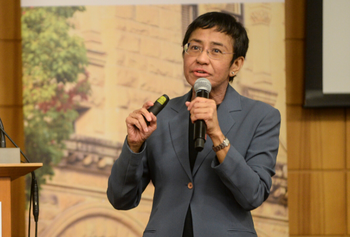 Maria Ressa delivering a keynote address upon receiving the 2019 Shorenstein Journalism Award, Stanford, October 21, 2019.