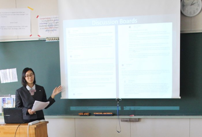 Stanford e-Japan honoree Sakura Hayakawa presents her final research paper at her school
