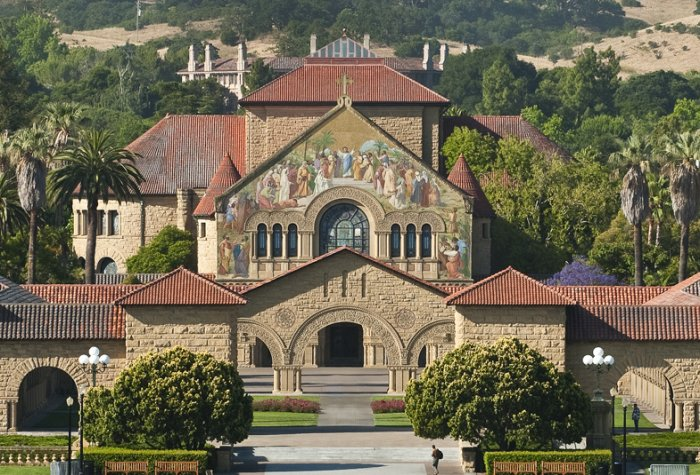 Stanford University landscape with Memorial Church and the Main Quad at the center.
