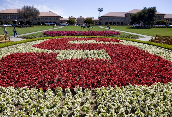 Stanford block 'S' on the Stanford University campus