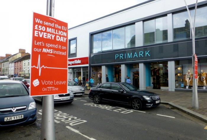 """Vote Leave"" poster, Market Street, Omagh"