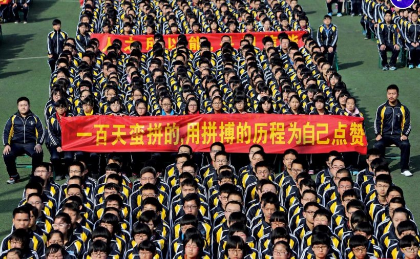 Students in Hengshui, Hebei province, rallied in late February to get ready for the gaokao.