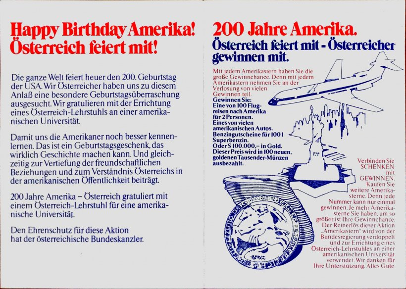 Image of an 'Amerika-Sterne' ('America star') that was sold at banks for a contribution of at least 50 Austrian Schilling.