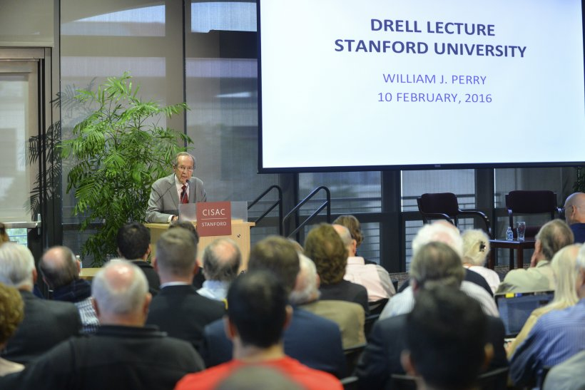 "William J. Perry takes a Stanford audience on a ""National Security Walk Around the World"" as he delivers the Center for International Security and Cooperation's annual Drell Lecture on February 10, 2016."