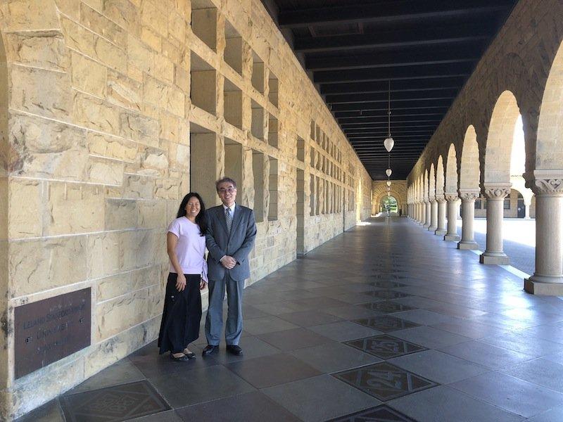 Sabrina Ishimatsu and Tsuyoshi Kudo in the Quad, Stanford University