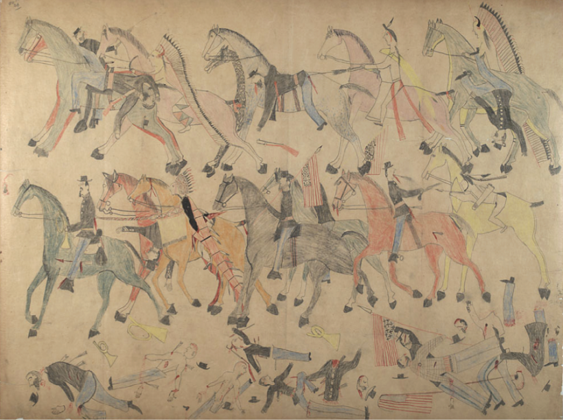 An eyewitness drawing from the Battle of Little Bighorn by the Lakota Chief known as Red Horse.