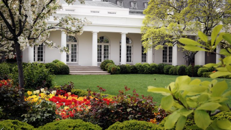 The  West Wing of the White House, partially obscured by trees
