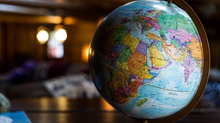 colorful globe on desk