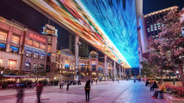 "Light Show in Beijing Shopping Plaza (""The Place"" in Chaoyang District)"