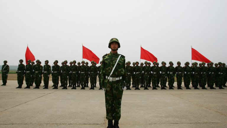 Chinese soldiers from the People's Liberation Army (PLA) 196th Infantry Brigade perform drill at their barracks in Yangcun, 100 km east of Beijing, China