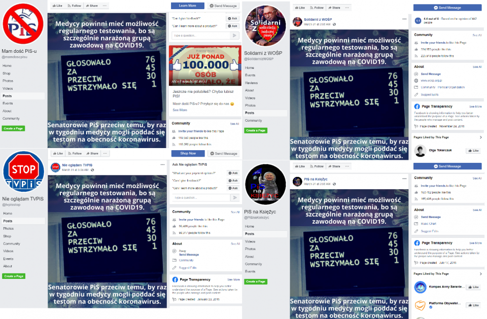 """Posts appearing across the """"CrowdMedia"""" network and accusing the ruling party's senators of voting against the interests of Polish medics."""