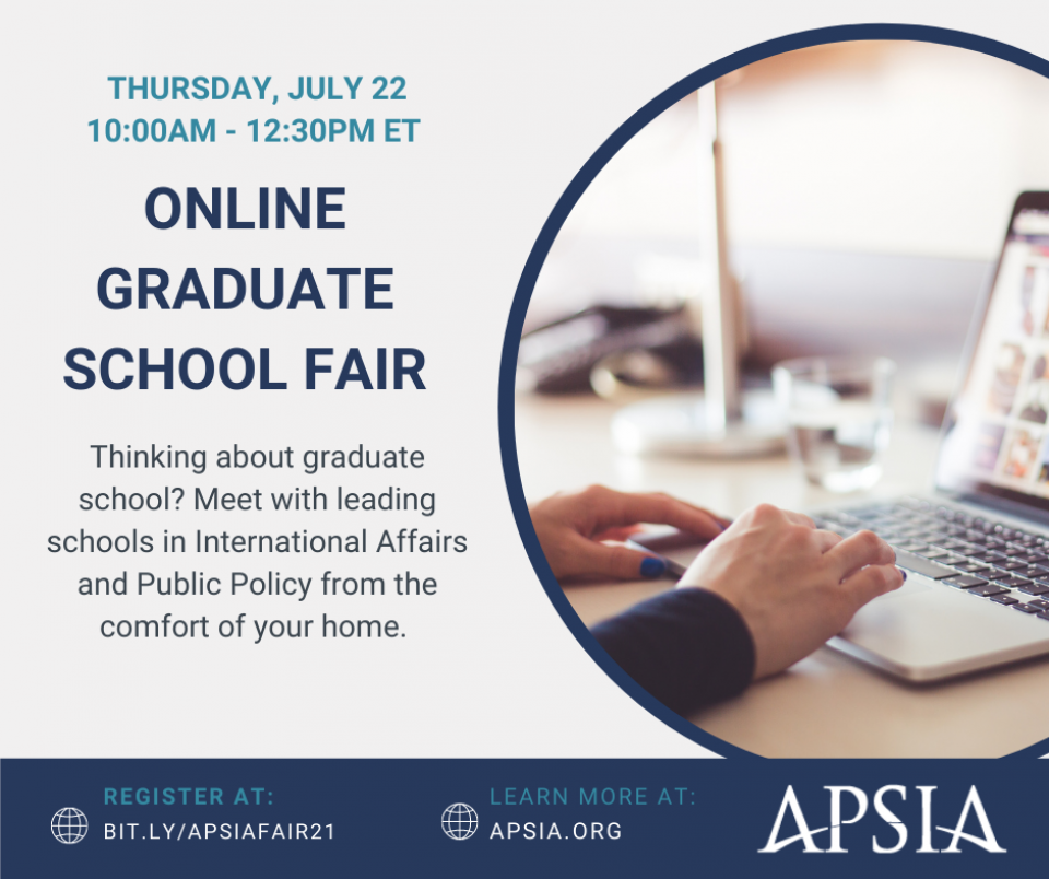 Join APSIA for their 2021 Online Graduate School Fair