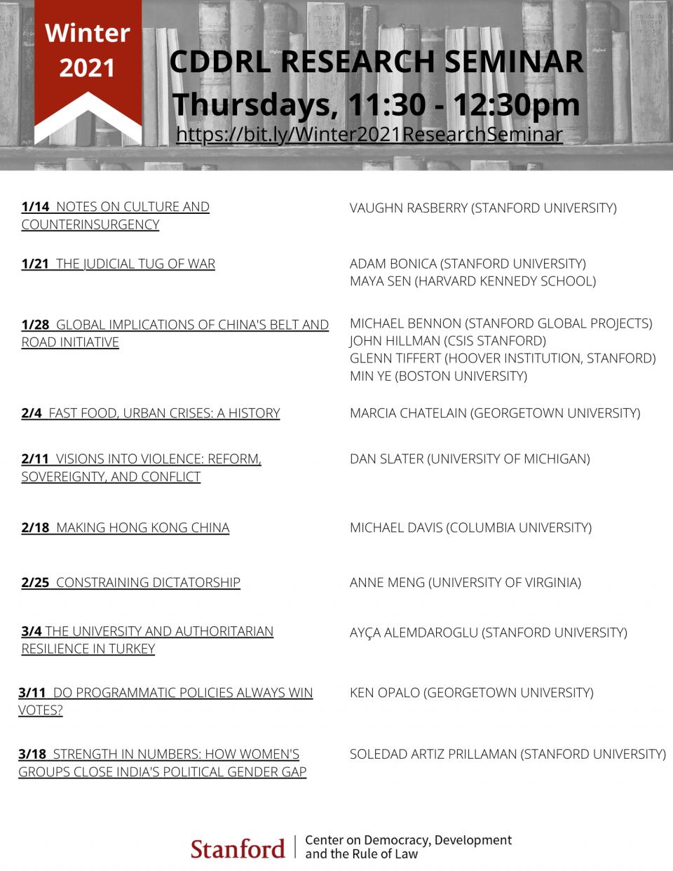 CDDRL Winter 2021 Research Seminar Schedule