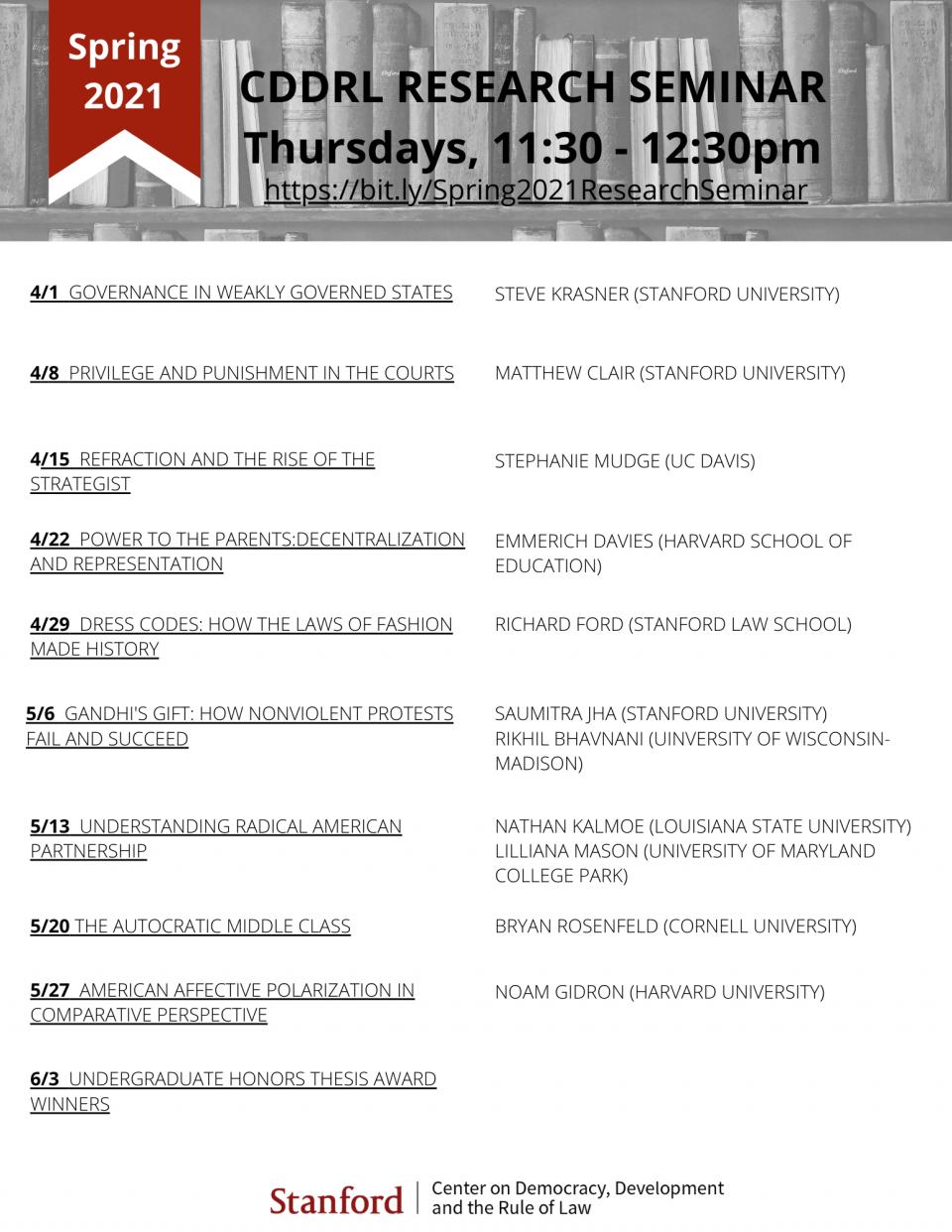 Spring 2021 CDDRL Seminar schedule