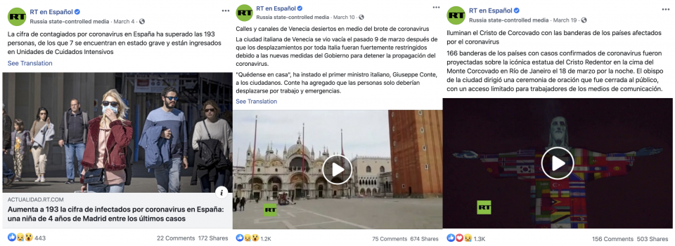 "Examples of typical content relating to three common categories of post on RT en Español: information about case counts (left), lockdowns (center), and ""human interest"" stories (right)."