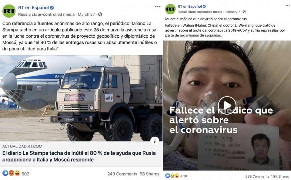 RT en Español posts that verge on criticism of Russia (left) and China (right).