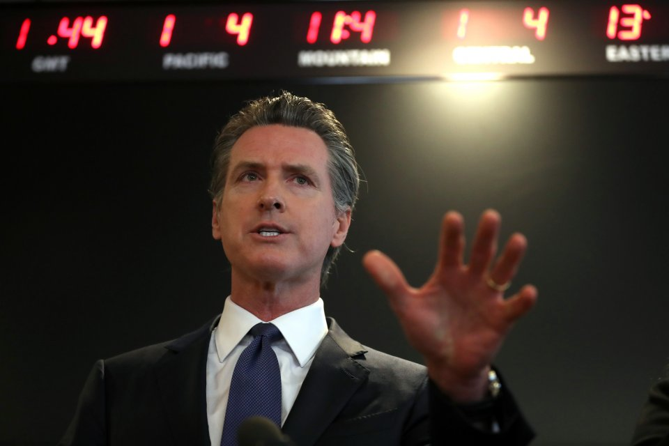 California Gov. Gavin Newsom speaks at a new conference about COVID-19.