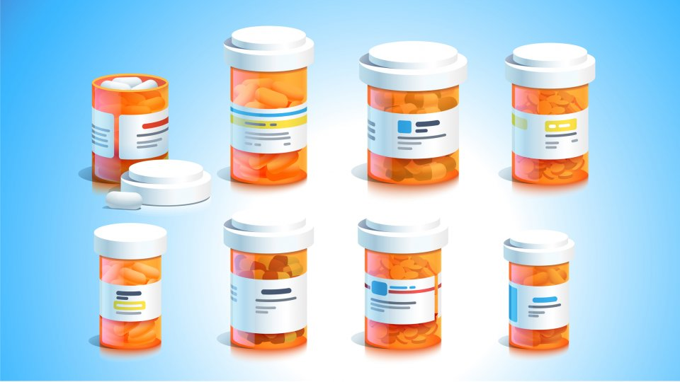 Getty Images illustration of pill bottles