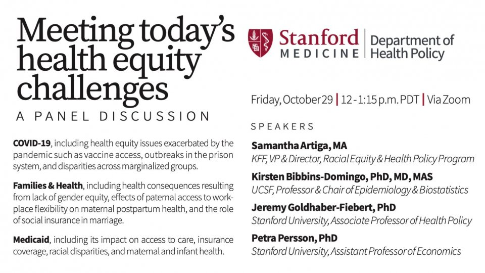 Stanford Health Policy Health Equity Panel Card
